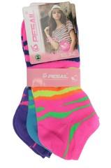 Pesail ponožky dámské 3 páry, růžová, modrá, fialová
