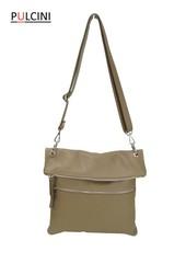 Dámská velká kožená kabelka přes rameno šedá, béžová Made in Italy