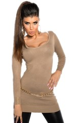 Koucla dámský dlouhý svetr hnědý s řetízky na zádech