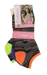 Pesail ponožky dámské 3 páry, oranžová, fialová, žlutá