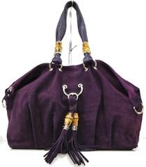 Dámská italská kabelka kožená Made in Italy tmavě fialová