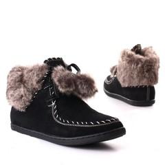 Dámské,dívčí kotníčkové boty s kožíškem černé