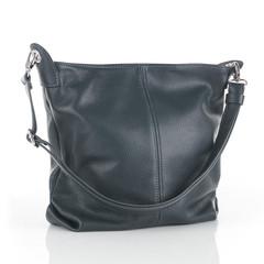 Dámská šedá kožená kabelka přes remeno Made in Italy