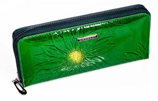 Dámská Velká Zelená Peněženka na zip Cavaldi PN25-SF