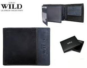 Pánská černá kožená peněženka ALWAYS WILD N992-SHS NAVY