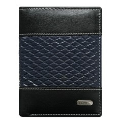 Pánská černá kožená peněženka LOREN RFID N4-DDG-bl-BLUE