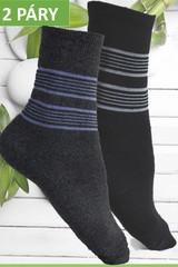 Ellasun pánské bambusové termo ponožky vysoké černé a šedé 2 páry