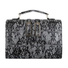 Černá malá elegantní kabelka s květinovým vzorem