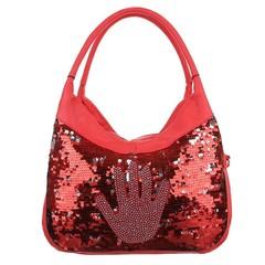 Dámská kabelka s kamínky a flitry červená