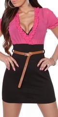 Letní dámské šaty černo-růžové