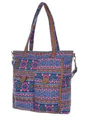 Barevná kabelka dámská fialová s geometrickým vzorem