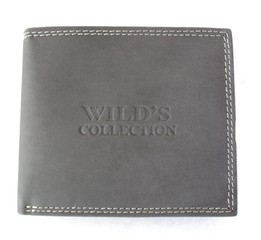 Wild Collection pánská kožená peněženka šedá na šířku