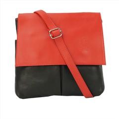 Vera pelle kabelka malá dámská kožená černo-červená