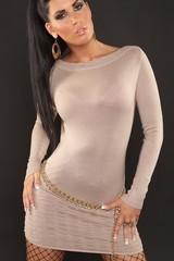 Luxestar dámské minišaty béžové jednobarevné s dlouhým rukávem 0000D602