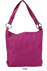 Dámská kožená kabelka přes rameno růžová Made in Italy