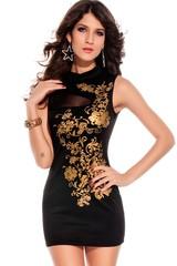 Dámské šaty černé se zlatým potiskem