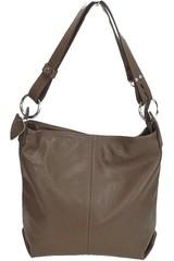 Dámská kožená kabelka přes rameno crossbody šedohnědá Made in Italy