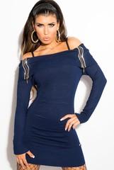 Koucla dámské šaty k legínám či svetr tmavě modrý