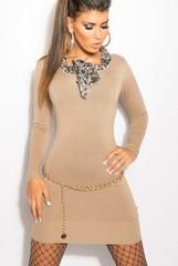 KouCla úpletové šaty s šátkem béžové barvy
