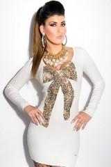 KouCla úpletové dámské šaty krémové
