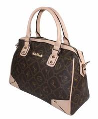 Dámská luxusní italská značková kabelka Giulia Pieralli 26222béžová a hnědá