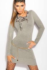 KouCla úpletové šaty s šátkem šedé barvy