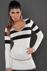 KouCla dámský dlouhý svetr s pruhy bílý, černý, k legínám