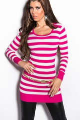 Koucla dámský úpletový svetr, šaty s pruhy
