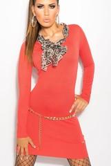 KouCla úpletové šaty s šátkem korálové barvy