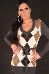 Dlouhý dámský svetr károvaný KouCla TMAVĚ ŠEDÁ