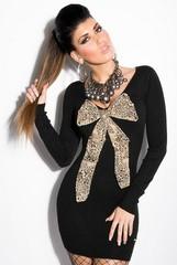 Pletené dámské šaty ČERNE