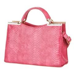 Dámská kufřík kabelka do ruky s krokodýlím motivem růžová
