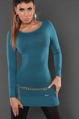 Koucla dámský úpletový svetr, tunika s mašlí tyrkys