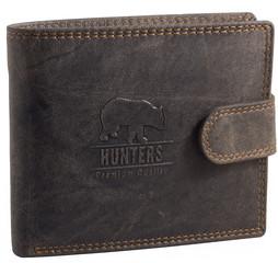 Pánská peněženka kožená Hunters Premium broušená hnědá HUN304