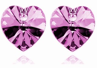 Náušnice ve tvaru srdce fialové