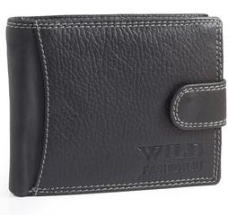 Wild Fashion4u pánská kožená peněženka černá hladká 305L