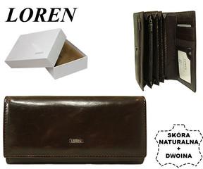 Loren Dámská kožená peněženka velká tmavě hnědá D7-P HNĚDA