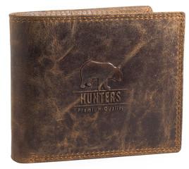 Pánská peněženka kožená Hunters Premium broušená hnědá HUN305