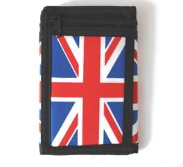 Látková peněženka černá s potiskem Anglie a řetízkem
