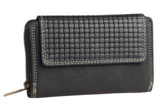 Dámská stylová černá kožená peněženka RB03-BL