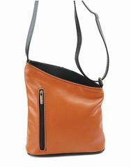 Dámská kožená kabelka crossbody Vera Pelle Made in Italy světle hnědá