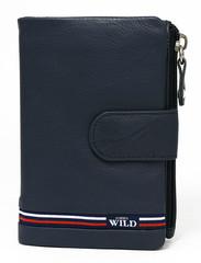 Dámská i pánská modrá kožená peněženka WILD ALWAYS N501-GV-BLUE