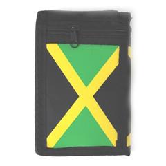 Látková peněženka černá s potiskem JAMAICA a řetízkem