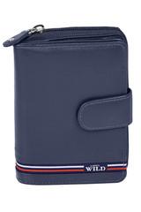 Dámská i pánská modrá kožená peněženka WILD ALWAYS N503-GV-BLUE