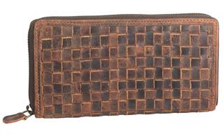 Dámská luxusní kožená peněženka na zip hnědá 29786