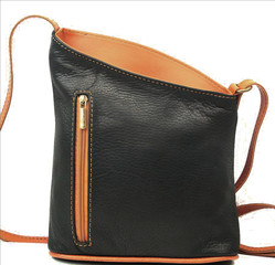 Dámská malá kožená kabelka crossbody Černá Vera Pelle Made in Italy