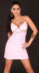 Letní dámské šaty na ramínka růžové