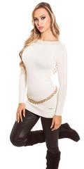 Dámský svetr s dlouhými rukávy bílý Koucla