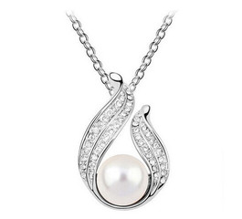 Řetízek a přívěsek s perlou a krystaly odstín stříbrný