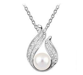 Řetízek a přívěsek s perlou a krystaly stříbrný